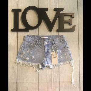 NWT Zara Trafaluc Sz 4 Blue Distressed Jean Shorts